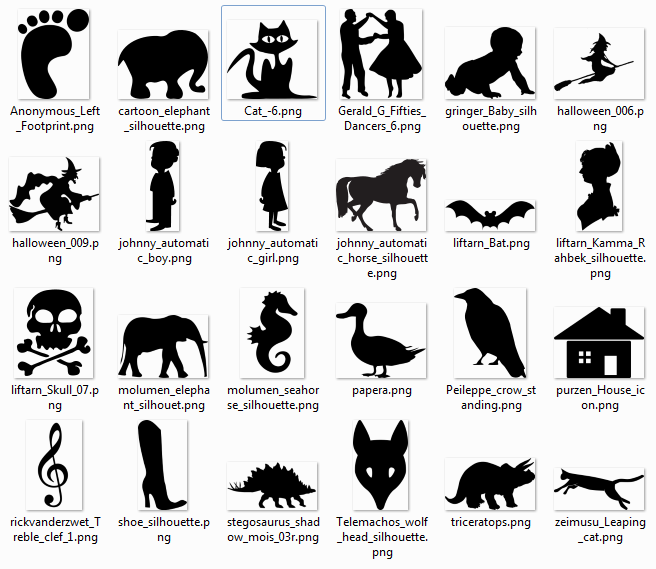 More than 600 free silhouette SVG Cliparts.