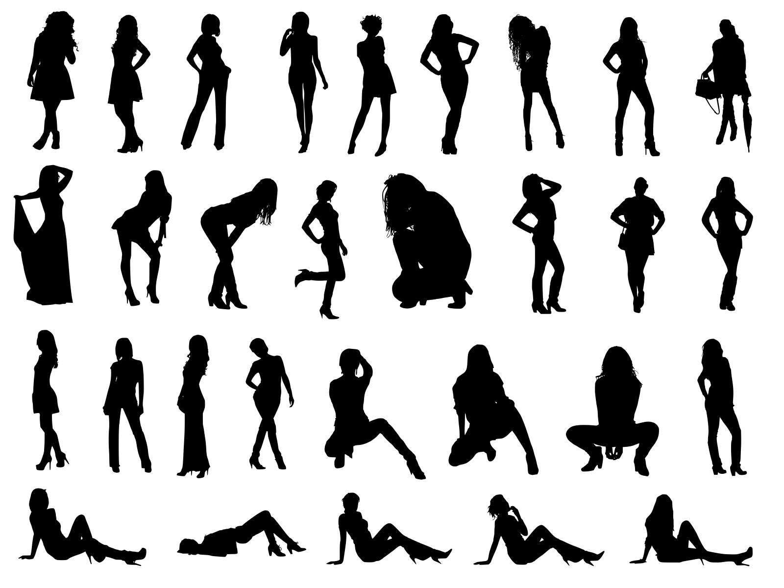 30 Woman Silhouettes (PNG Transparent).