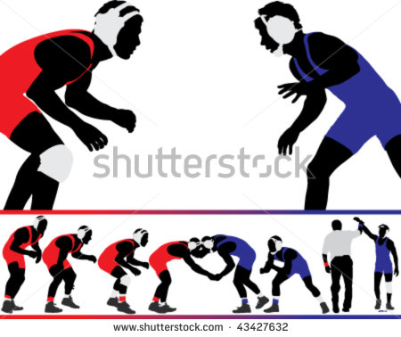 Wrestling Silhouette Stock Images, Royalty.