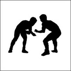 Wrestlers fighting and referee vector silhouettes.