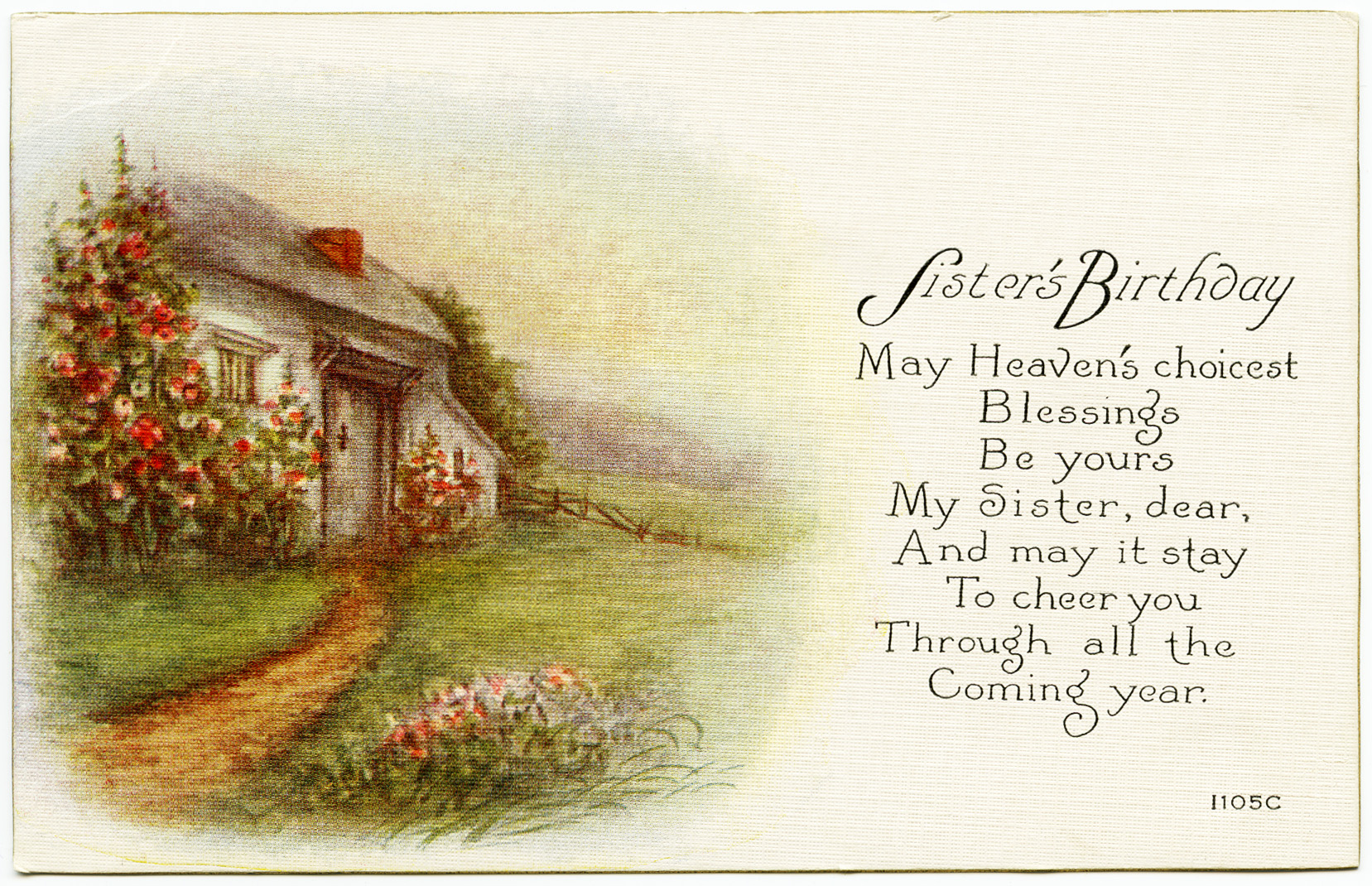 Sister's Birthday Vintage Postcard.
