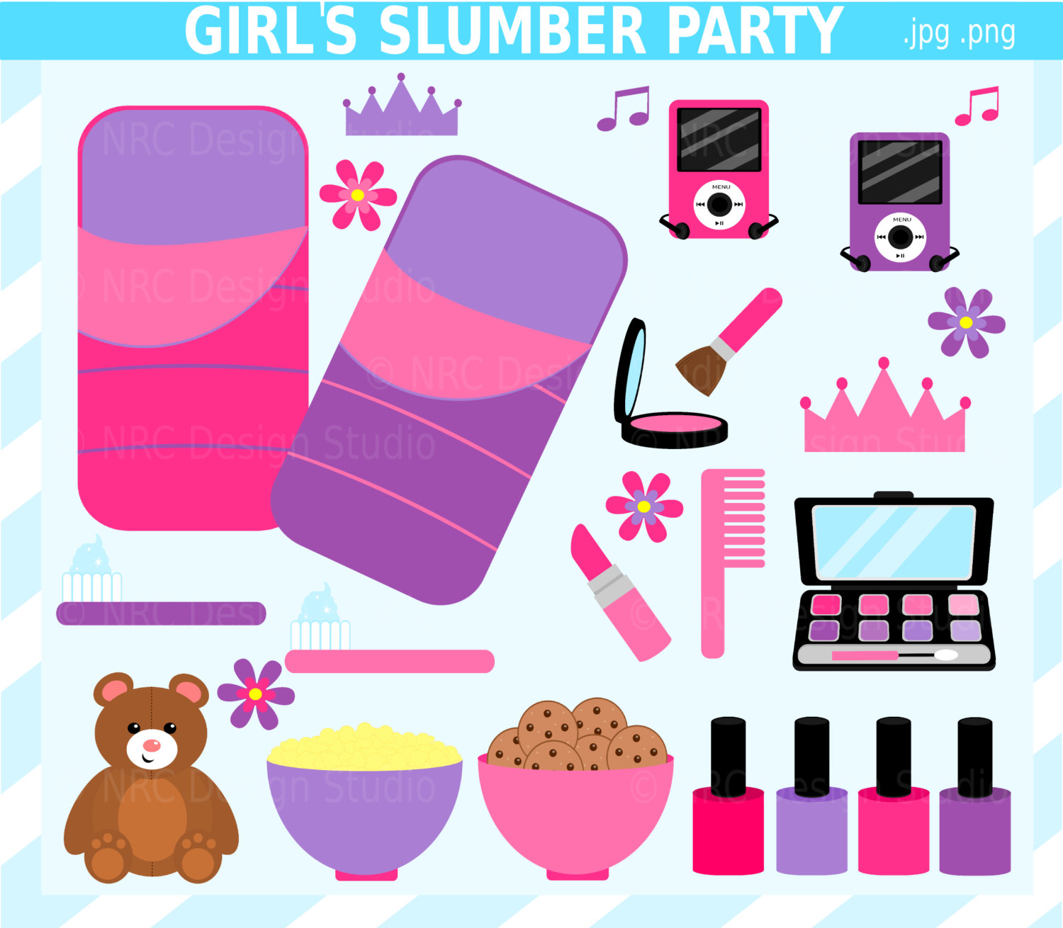 Girl Slumber Party Border Clipart & Free Clip Art Images #28673.