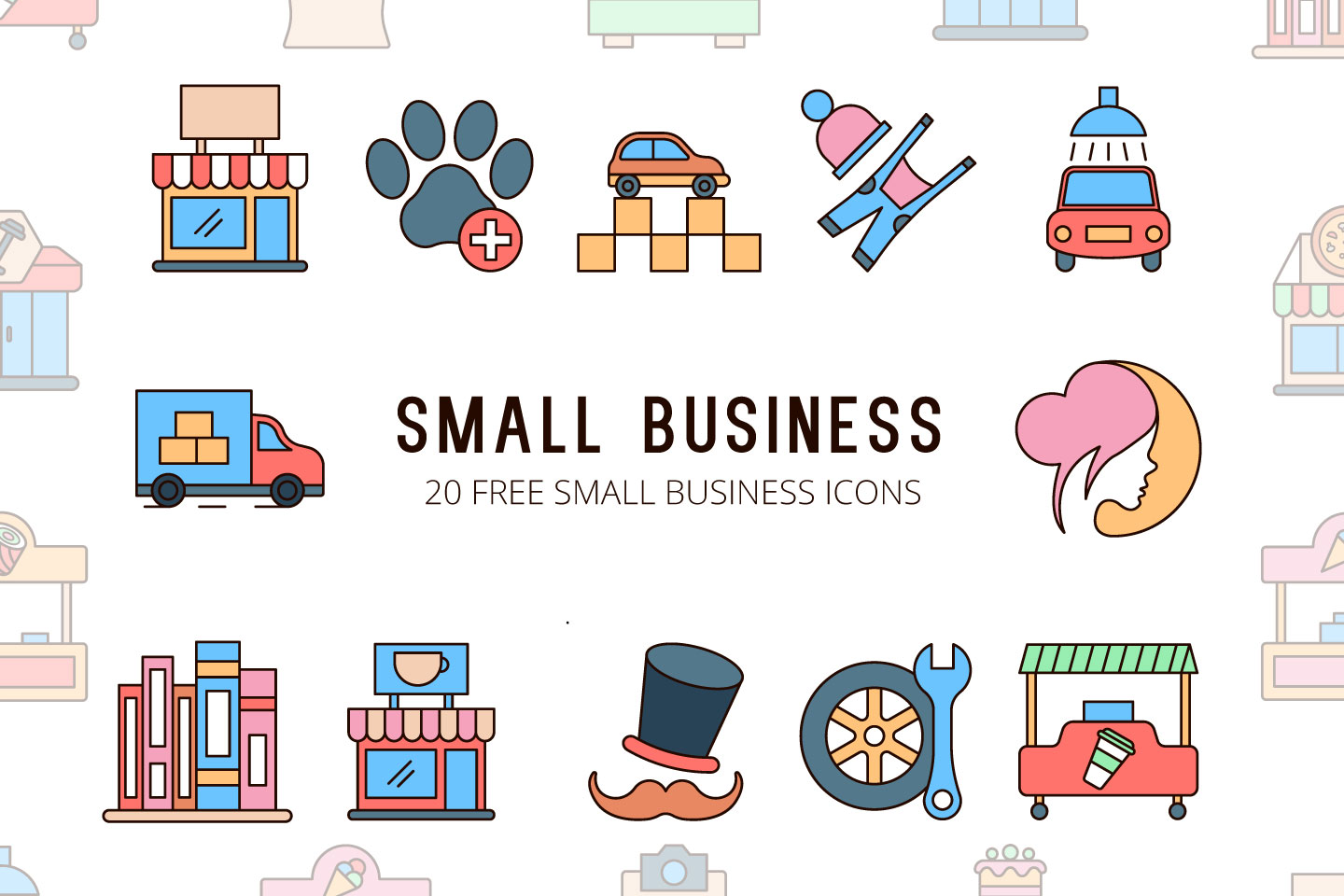 Small Business Vector Free Icon Set.