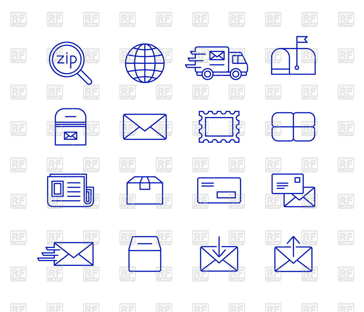 Mail and postal service icon set.