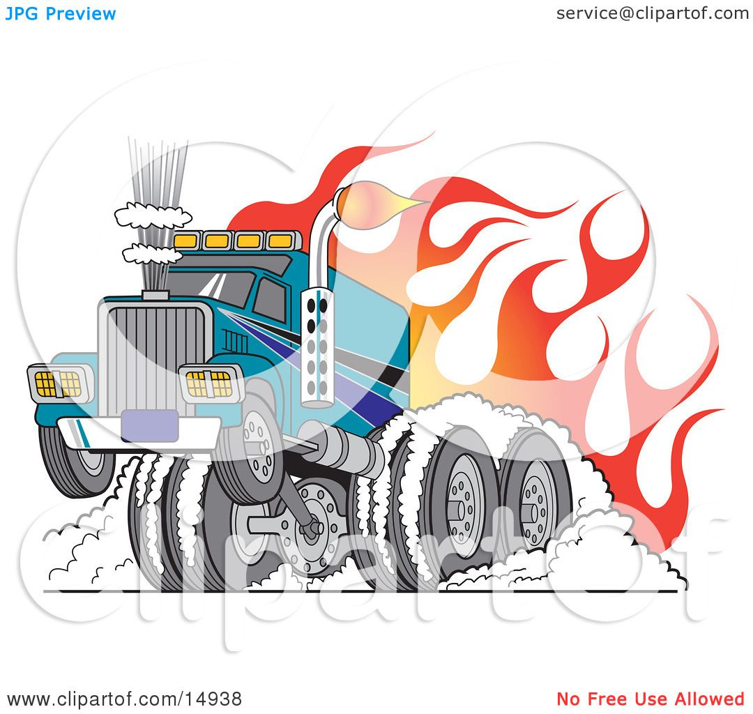 Tough Big Rig Hot Rod Truck Flaming And Smoking Its Rear Tires.
