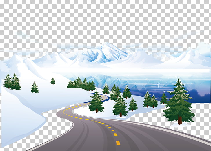 Snow , Snow road PNG clipart.