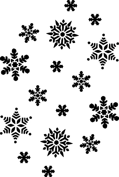 Snowflakes Silhouette clip art Free vector in Open office.