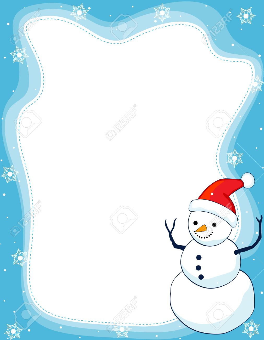 A border illustration featuring a smiling snowman with falling...