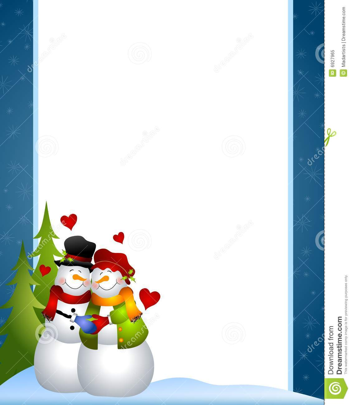 Snowman Love Border stock illustration. Illustration of huddling.