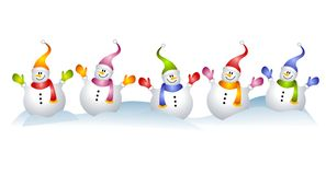 Group Of Snowmen Snowman Clip Art Stock Illustration.