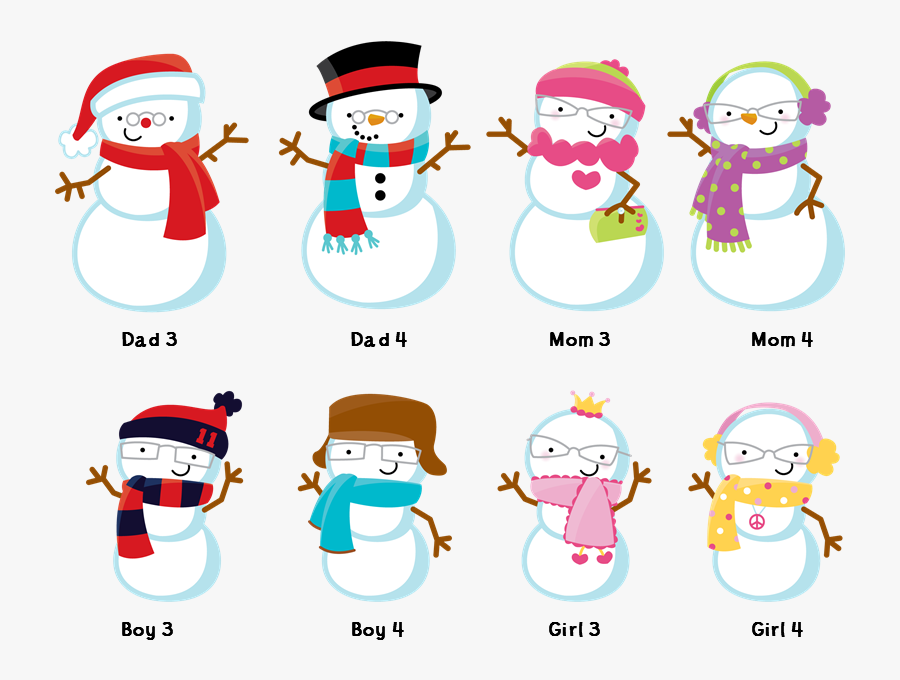 Snowman Family With Snowflakes.