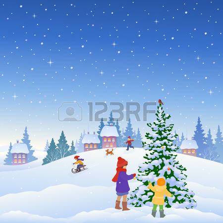 10,388 Snowy Tree Stock Vector Illustration And Royalty Free Snowy.
