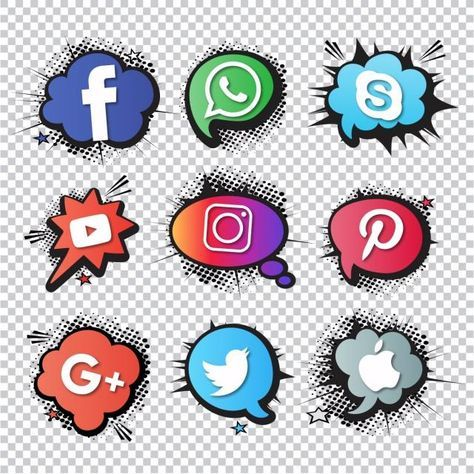 Set Of Social Icons Comic Style, Comic, Art PNG and Vector.