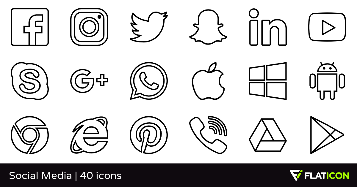 Social Media 39 free icons (SVG, EPS, PSD, PNG files).