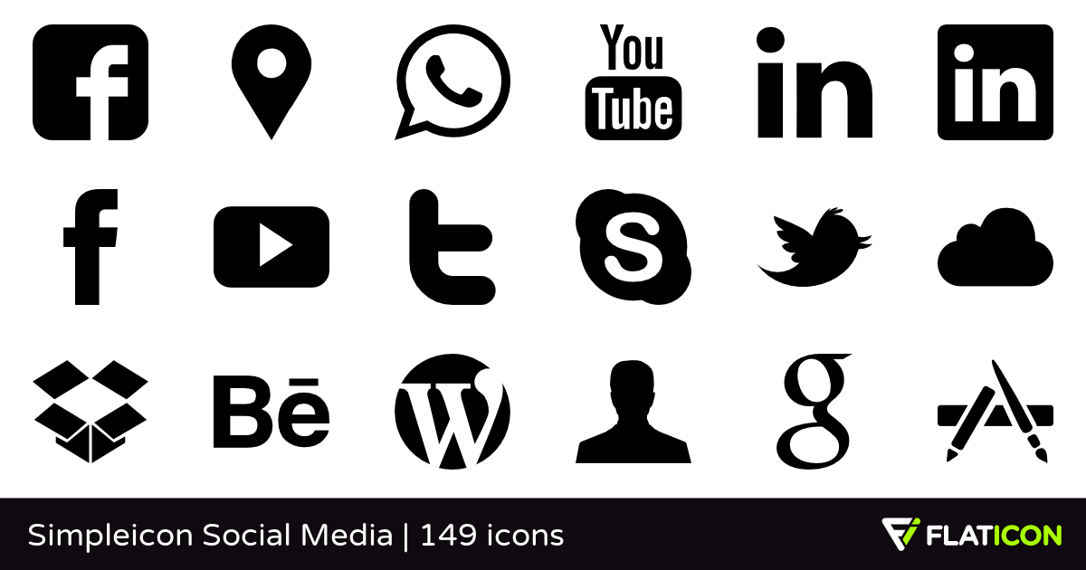 Simpleicon Social Media +145 free icons (SVG, EPS, PSD, PNG files).