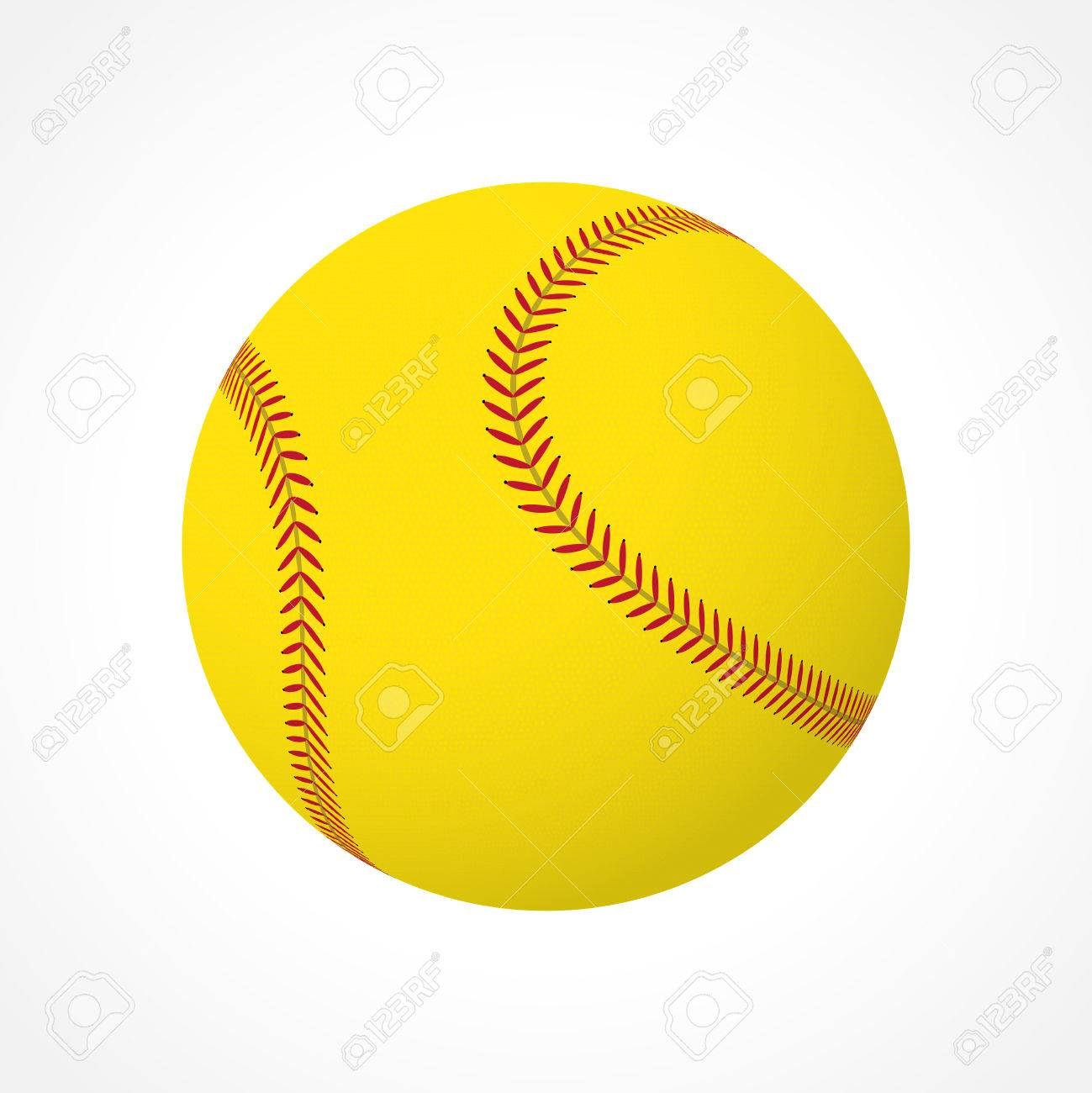 Realistic softball ball isolated on white background.