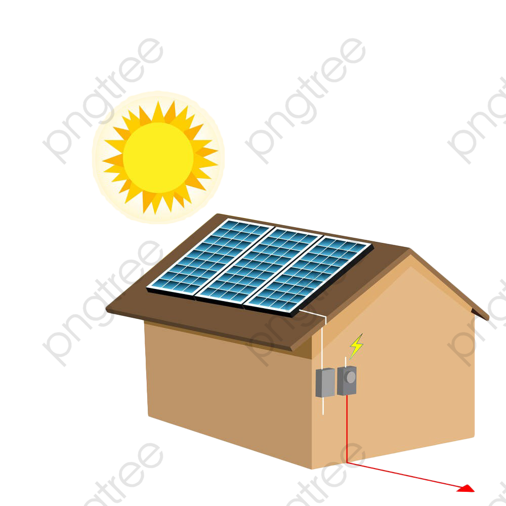 Solar Photovoltaic Panels On The Roof, Roof Clipart, Sun, Roof PNG.
