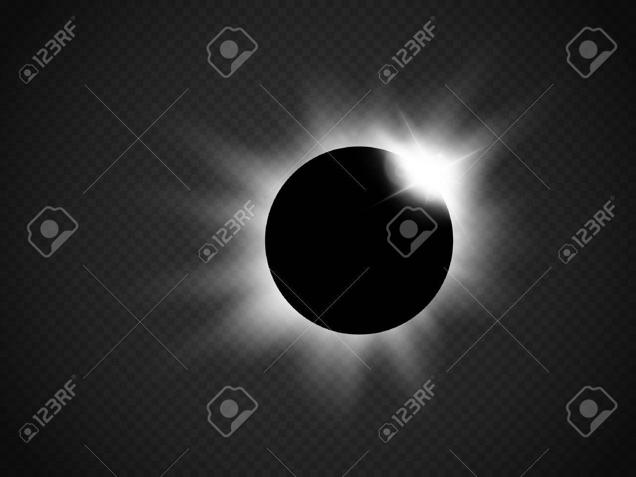 Sun eclipse isolated on transparent background. Vector illustration.