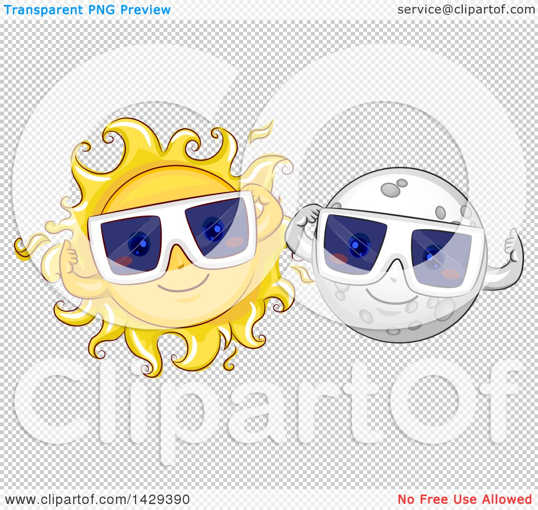 Clipart of Happy Moon and Sun Characters Wearing Solar Eclipse.