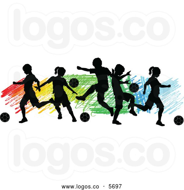 Royalty Free Vector of a Logo of Silhouetted Children Playing Soccer.