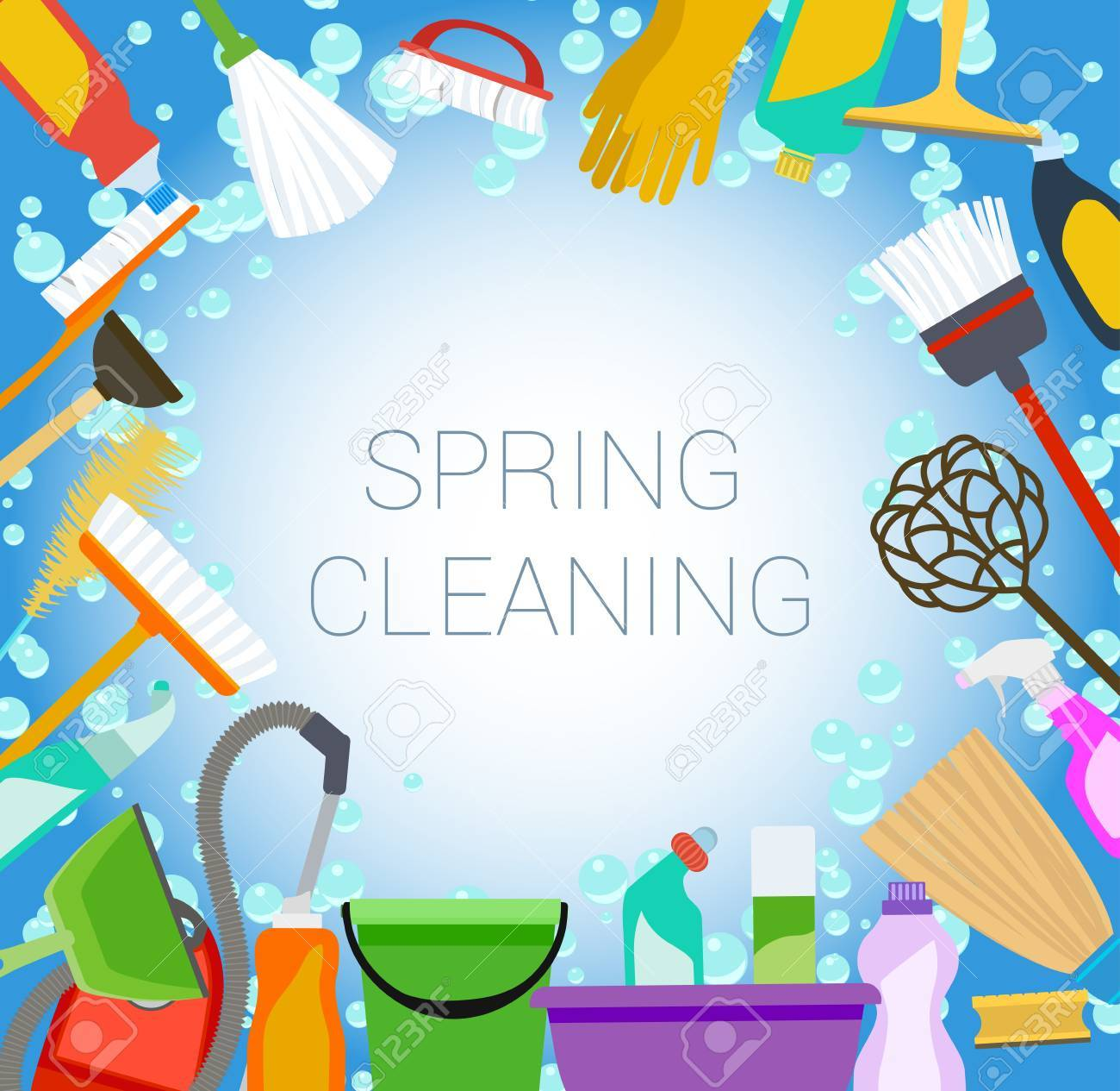 spring cleaning background with tools and bubbles.