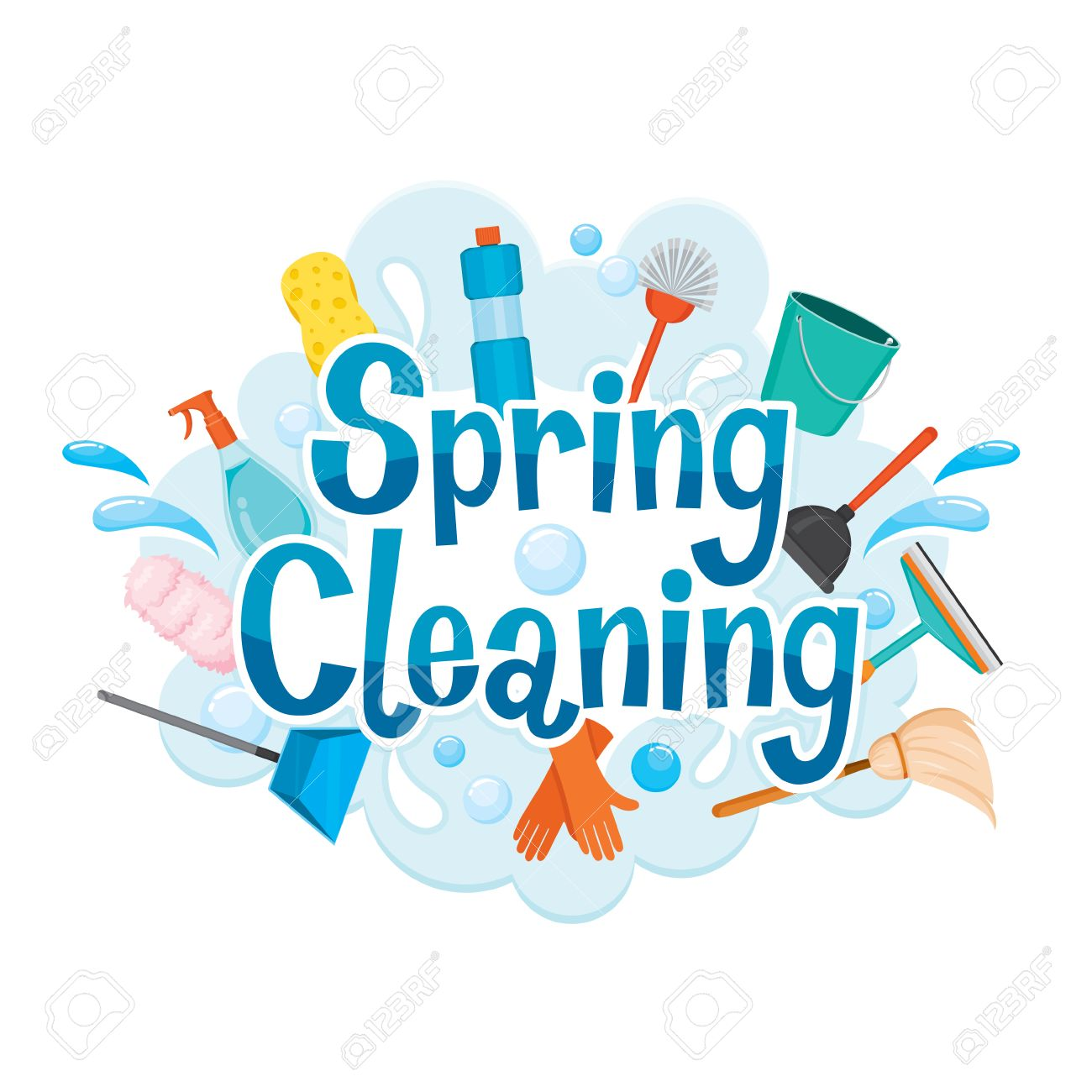Spring Cleaning Letter Decorating And Cleaning Equipment, Housework,...