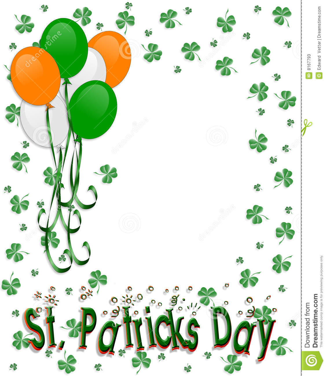 St Patrick's Day Border Balloons Stock Illustration.