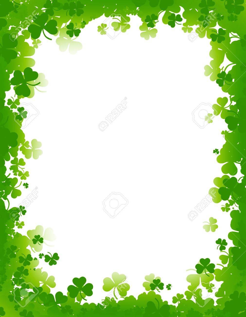 Green clover st. Patrick's Day Background / Border.
