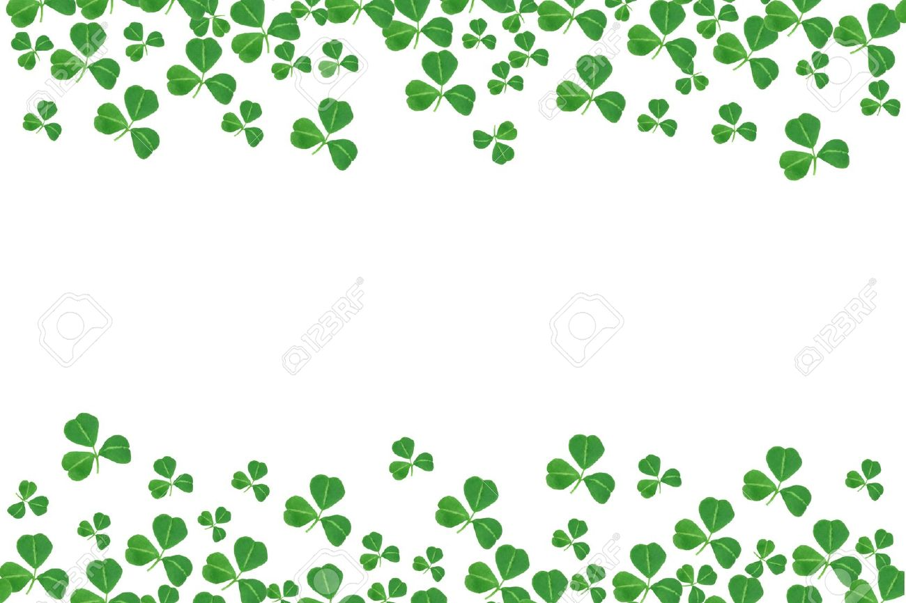 St Patricks Day double border of shamrocks over a white background.