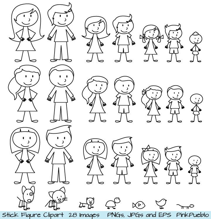 Stick Figure Clipart Clip Art, Stick People Family and Pets Clipart.