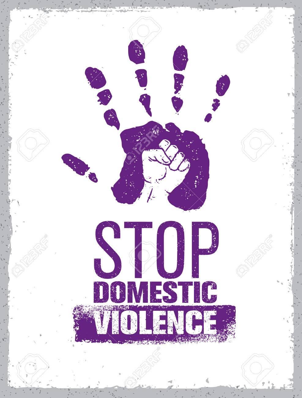 Stop Domestic Violence Stamp. Creative Social Vector Design Element...
