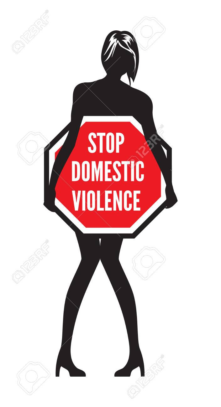 Stop domestic violence or abuse sign.