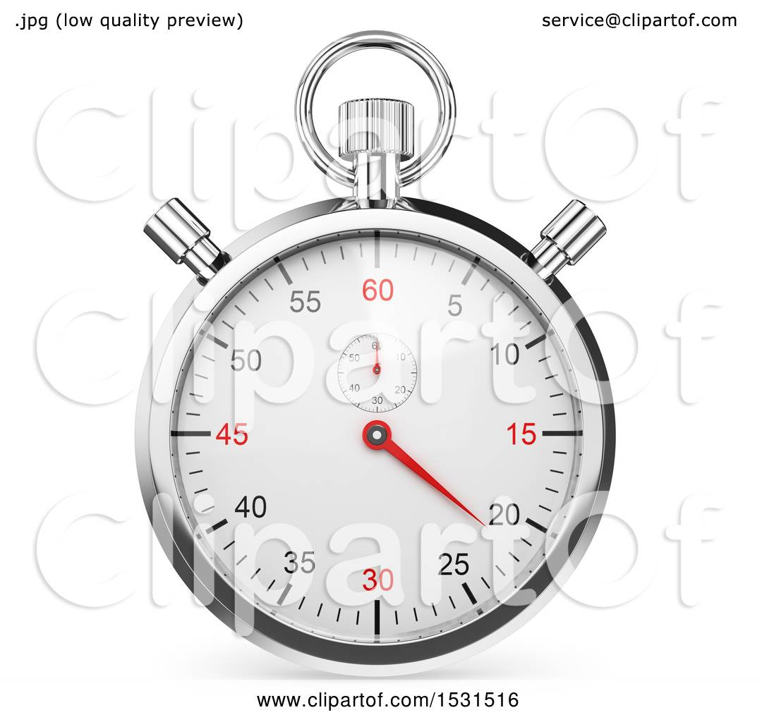 Clipart of a 3d Stopwatch Chronometer, on a White Background.