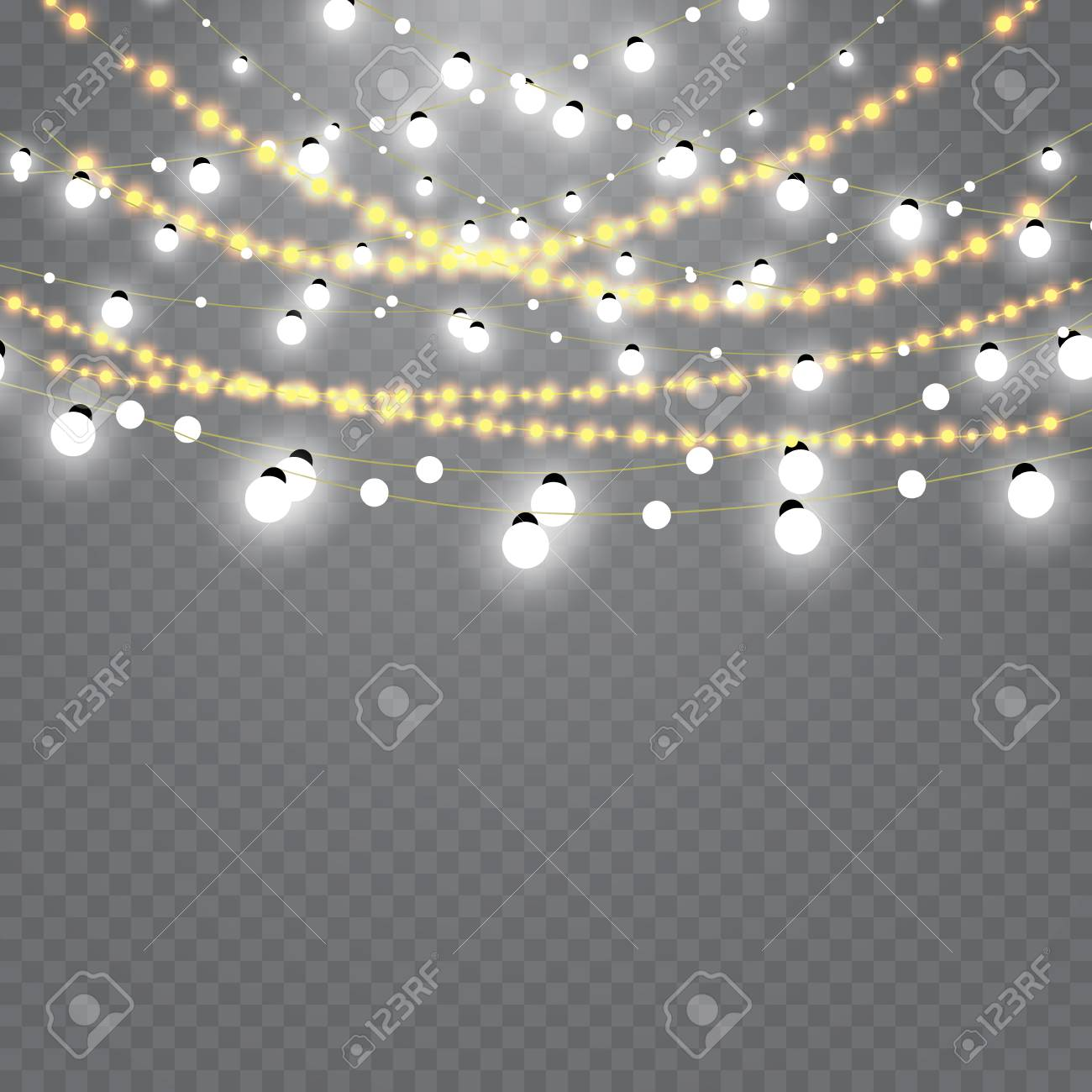 Christmas lights isolated on transparent background. Set of golden...
