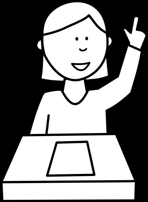 Élève posant une question / Student asking a question Free Vector.