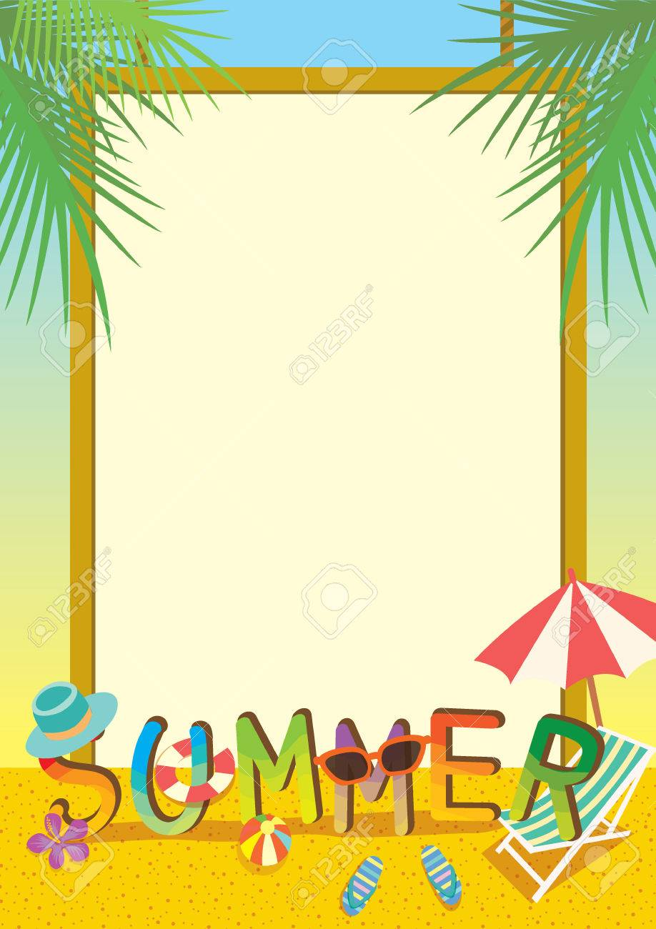 Summer illustration template colorful design with border and...