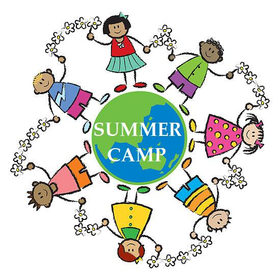 cartoon of several kids at summer camp royalty free clipart.