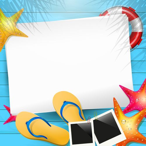 Happy summer holidays elements vector background 02.