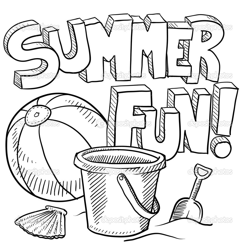Summer Fun Clipart Black And White.