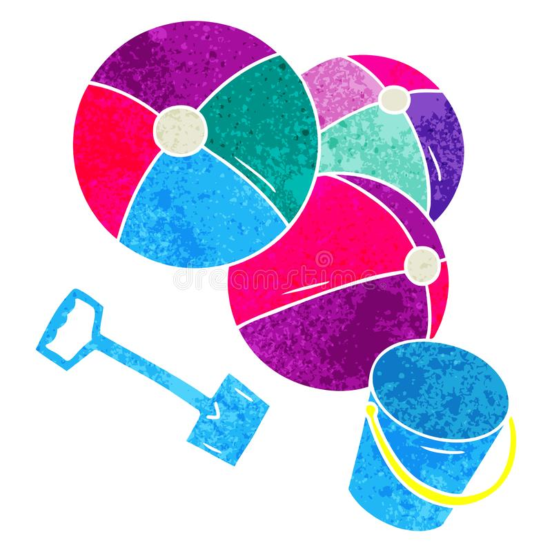Retro Cartoon Bucket Spade Balls Beach Summer Holiday Free Hand.