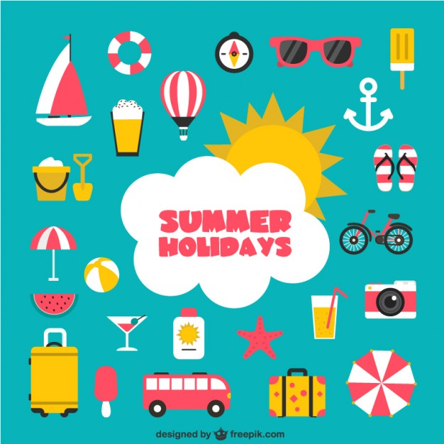 Summer holidays icons Vector.