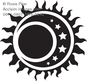 Sun and moon clipart.