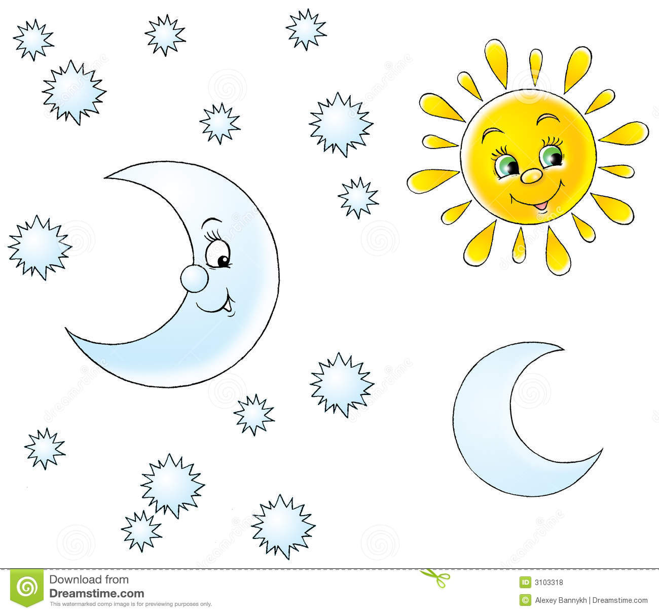 Free Sun Moon And Stars Clipart.