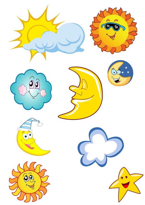 sun, cloud and moon drawings.