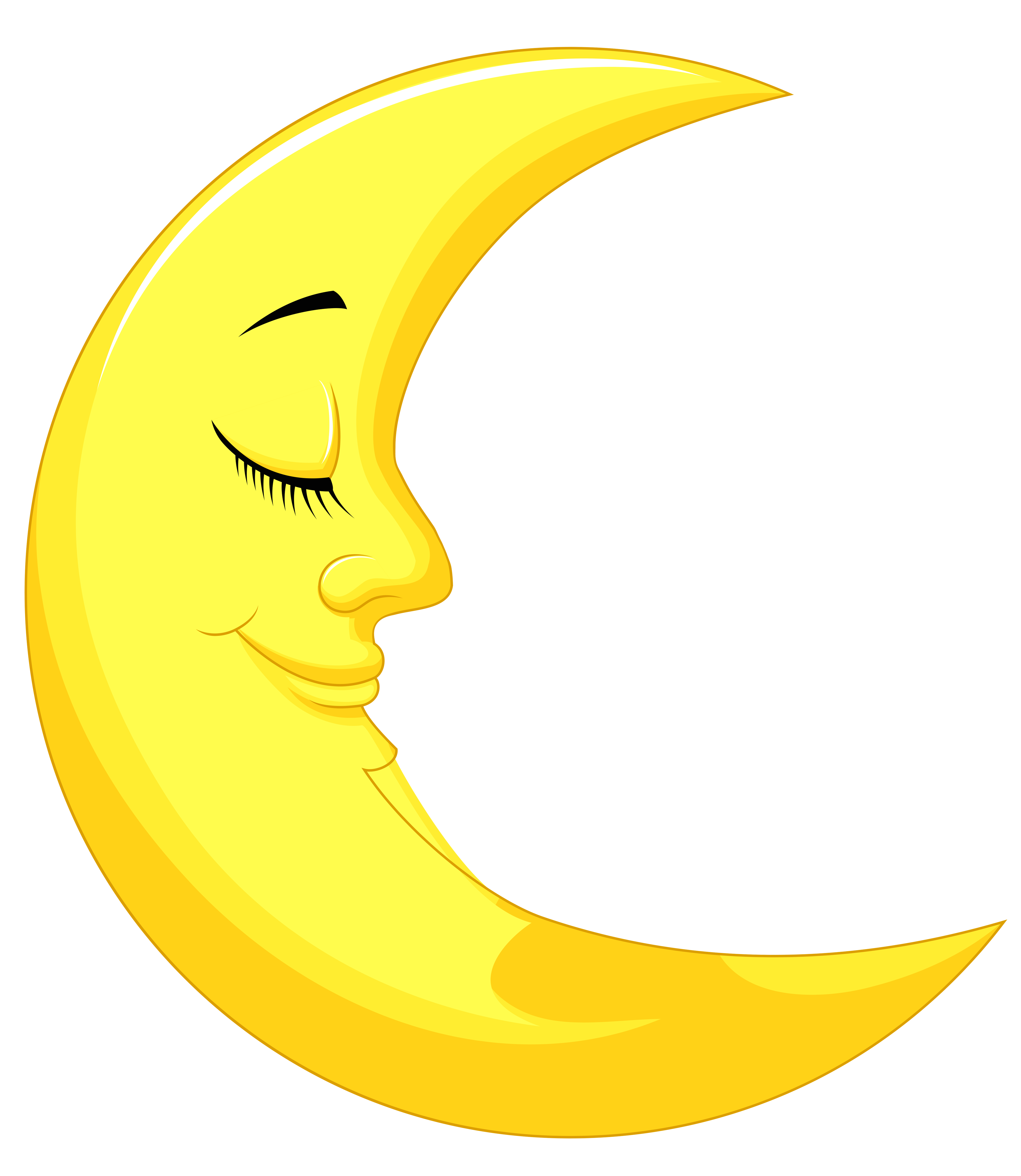 Cute Yellow Moon PNG Clipart Picture.