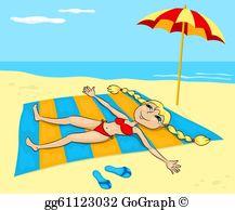 Sunbathing Clip Art.