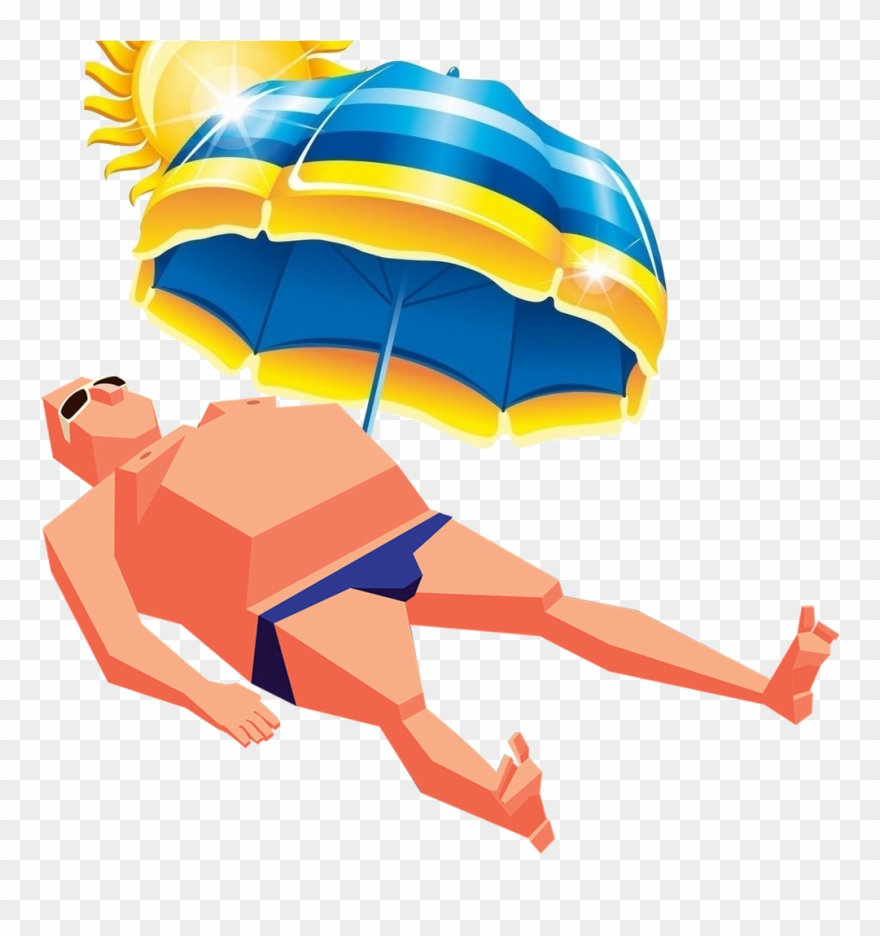 Umbrella Art Sunbathing Man Transprent Png Free.
