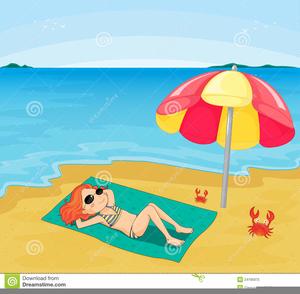 Lady Sunbathing Clipart.