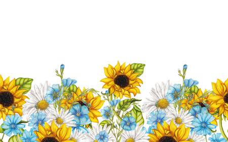 1,329 Sunflower Border Stock Vector Illustration And Royalty Free.