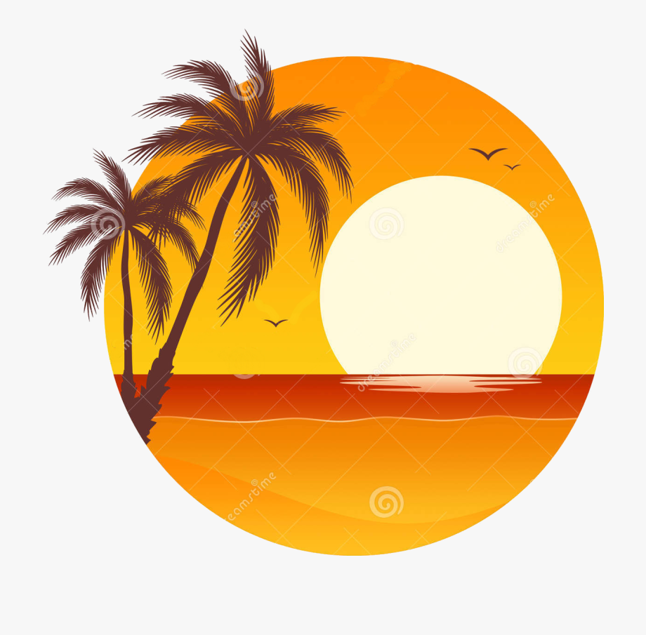 Palm Tree Sunset Clipart 400 Pixel By 150 Pxl.